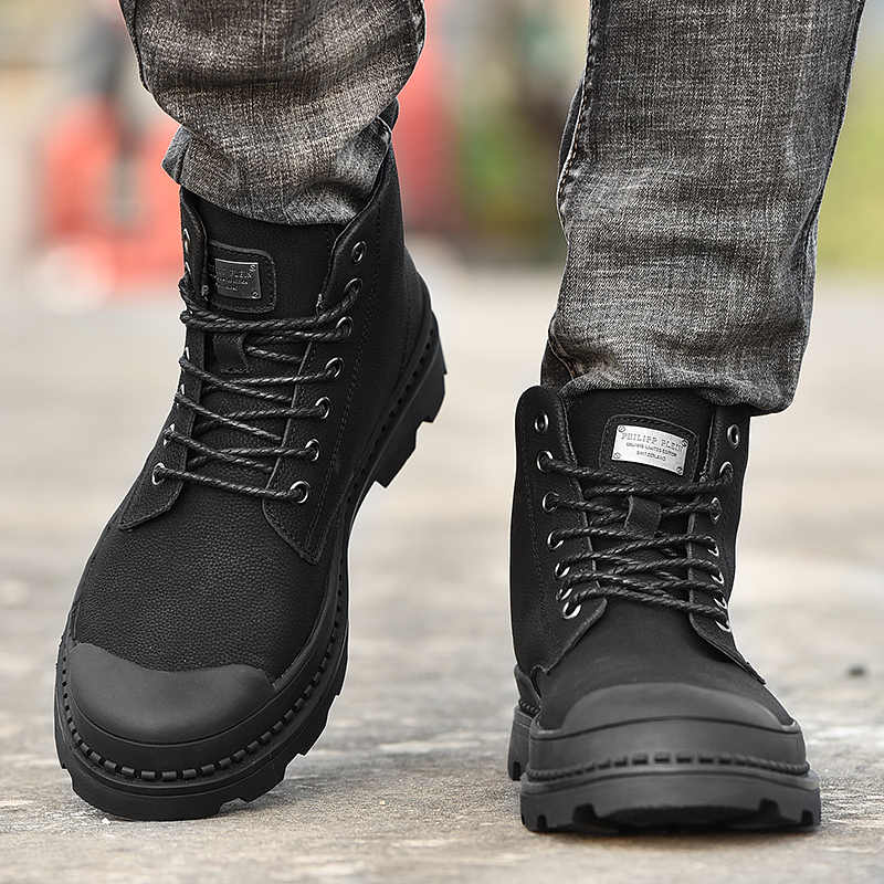 UPUPER Black Winter Mannen Laarzen Lederen Enkellaarsjes Mannen Winter Schoenen Mannen Bont Sneeuw Militaire Laarzen voor Mannen Botas