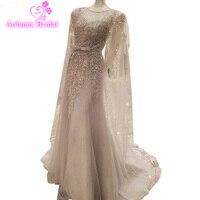 Роскошный халат De Soiree сладкий серый Кружево Бисер длинное вечернее платье свадебное Scoop рукавов Прозрачный Банкетная пикантная платье для