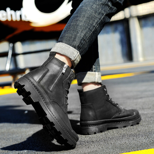 Image 3 - Mens winter boots work safety shoes casual genuine leather classics black plush nice boot man shoe ankle military boots for men
