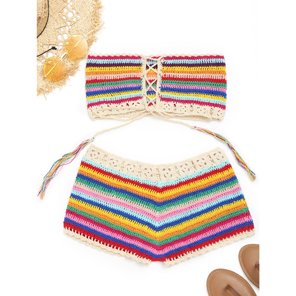 ZAFUL sin tirantes colorido Crochet Top y Shorts mujer Beach Cover ...