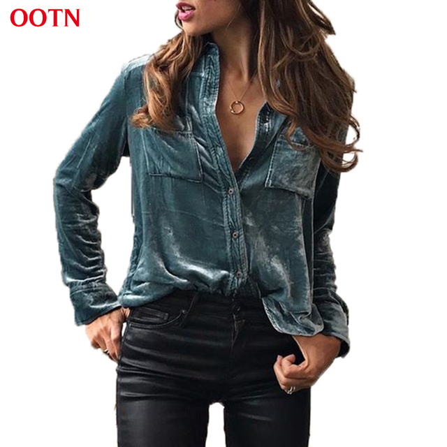 OOTN verão moda inverno veludo botão bolso turn-down collar camisa de manga longa mulheres top azul camisas