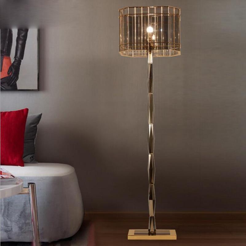 Post modern Avrupa kristal zemin lambası neo klasik yaratıcı dikey basit başucu oturma odası yatak odası çalışma zemin lambası led|Zemin Lambaları|   -