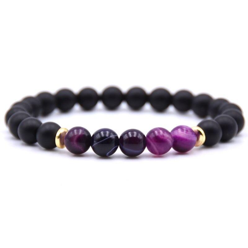 ★  18 Цветов 5 Натуральный Камень 8 мм Полосатый Черный Матовый Камень Браслеты Эластичный Будда Бисера ★