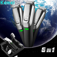 New Washable Kemei 6 in 1 Hair Clipper Rechargeable Cordless electric trimmer machine cut hair trimmer nose hair trimmer shaver