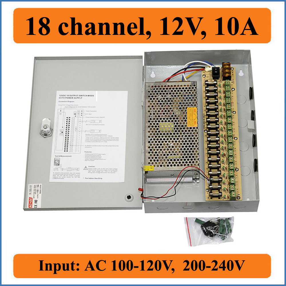 18 channel DC12V 10A CCTV Cameras Power Box Security Video Camera wall-hang Box switching Power supply 18CH Port 10A cctv power box 16 channel 12v 10a support ptz ir illuminator access control for 16ch dvr cctv camera power supply