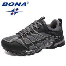 BONA Yeni Klasik Tarzı Erkekler koşu ayakkabıları Açık Yürüyüş Koşu Sneakers Dantel Up Örgü Üst spor ayakkabı Hızlı Ücretsiz Kargo