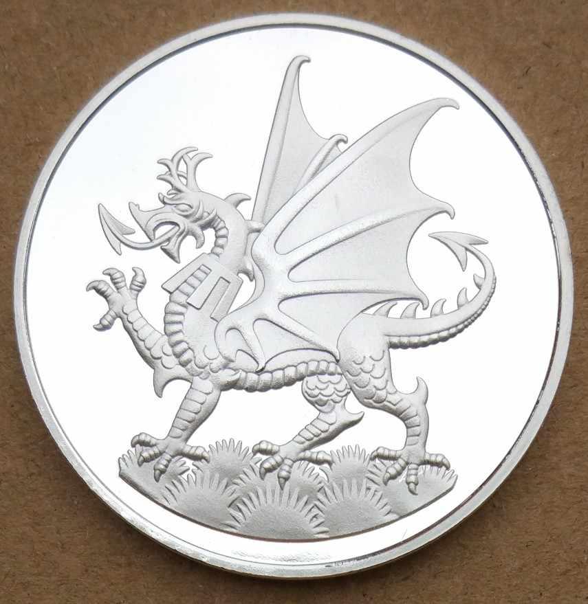 38mm Y Ddraig Goch Ich Dien Prens Galler Hatıra Madalya Madalyası gümüş Kaplama İNGILTERE Usd 200