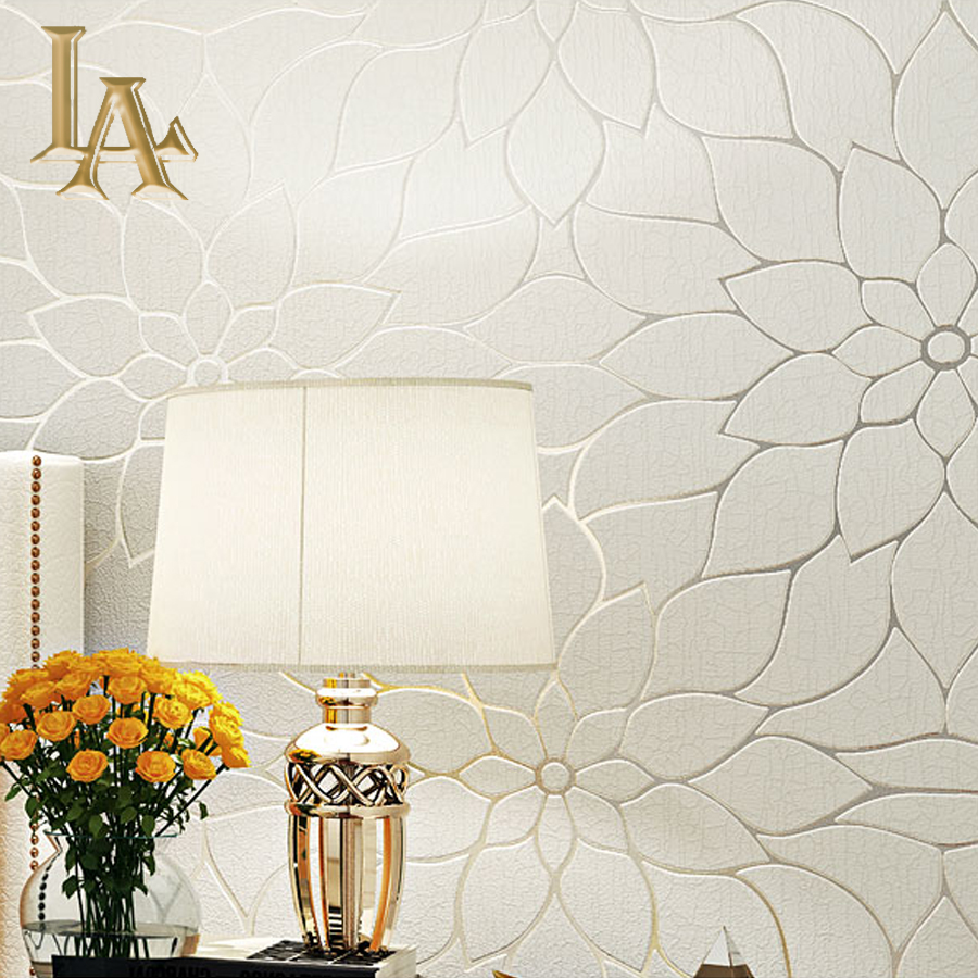 Thick Flocked Modern Simple Lotus 3d Wallpaper For Walls