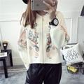 Chaqueta de las mujeres chaqueta de invierno abrigo de Invierno Las Mujeres cremallera suéter bordado viento nacional párrafo corto femenino abrigo
