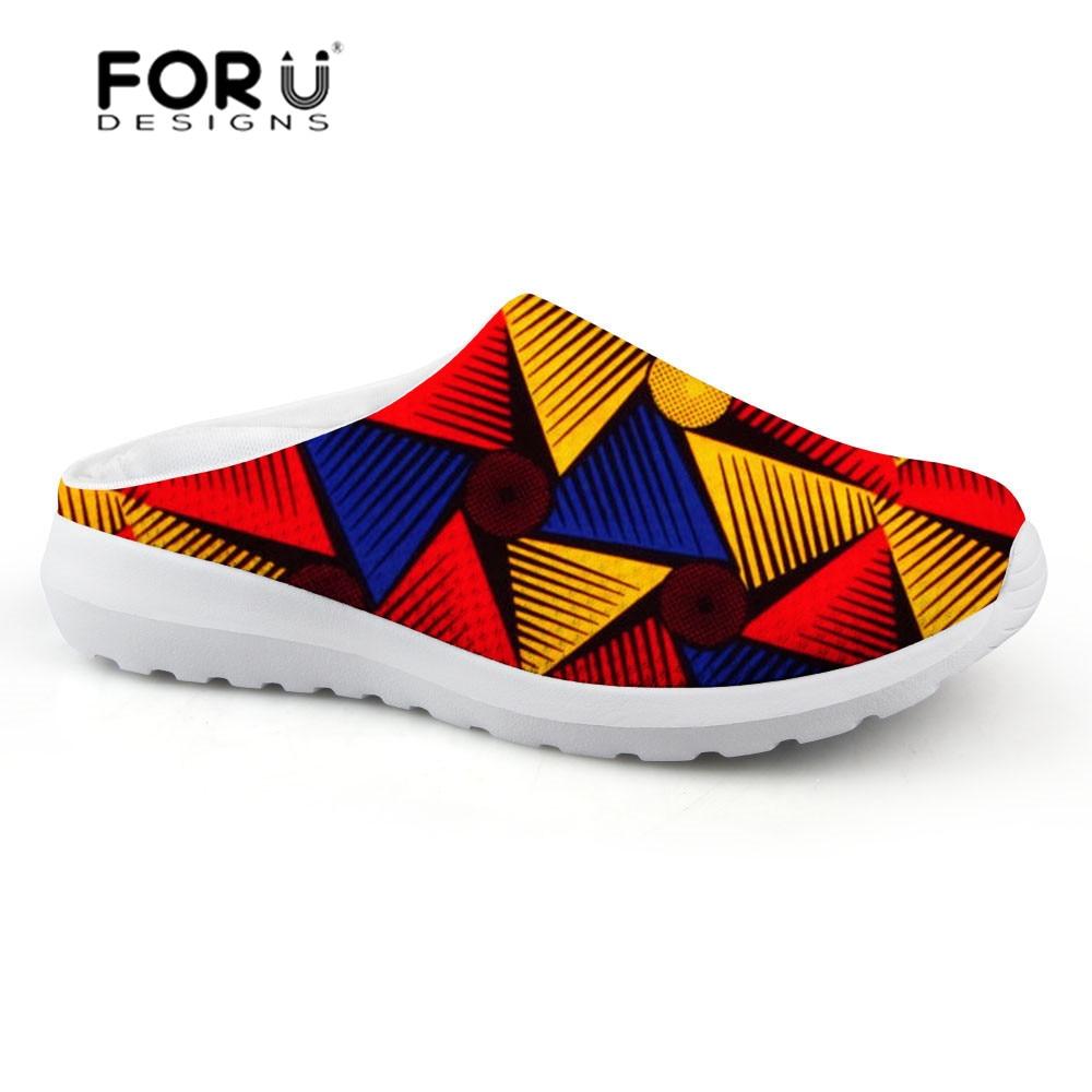 FORUDESIGNS africain traditionnel imprimé pantoufle femme plate-forme sandales chaussures femme été 2018 léger maille dames chaussures