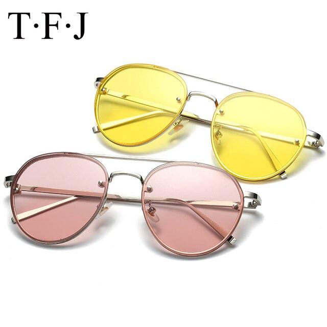 770ea7f8ce5911 Tendances Anti-UV400 Rond Jaune Dames lunettes de Soleil Femmes Lunettes de  Soleil Pour Hommes