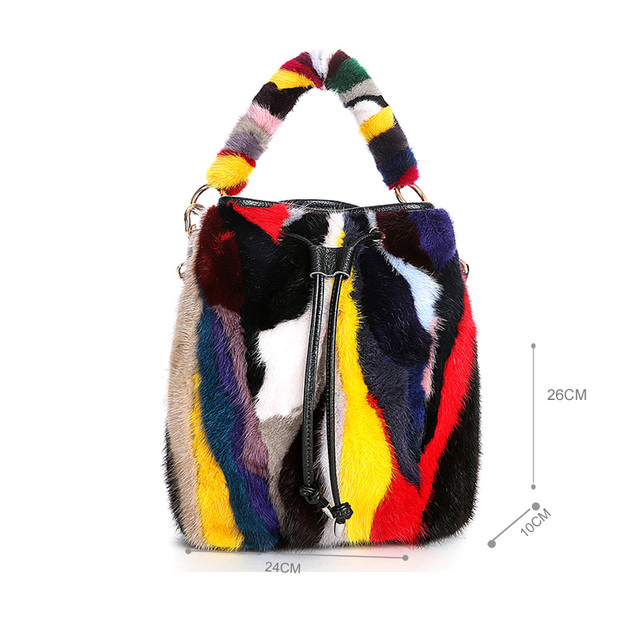 Etersto 2017 New Colorful Mink Fur Bags Women Leather Fur Messenger Bags Fashion Solid Female Flap Bags  Ladies Crossbody Bags