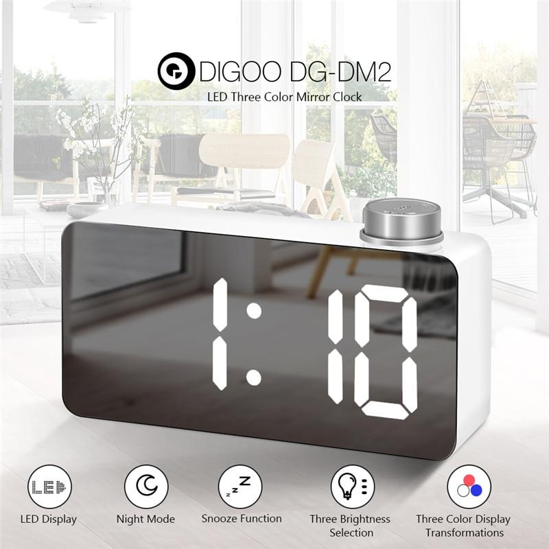Tools Temperature Instruments Digoo Dg Dm2 Digital Led Adjustable Triple Color Display Mirror Clock Snooze Fuction Night Mode Table Desktop Alarm Clock