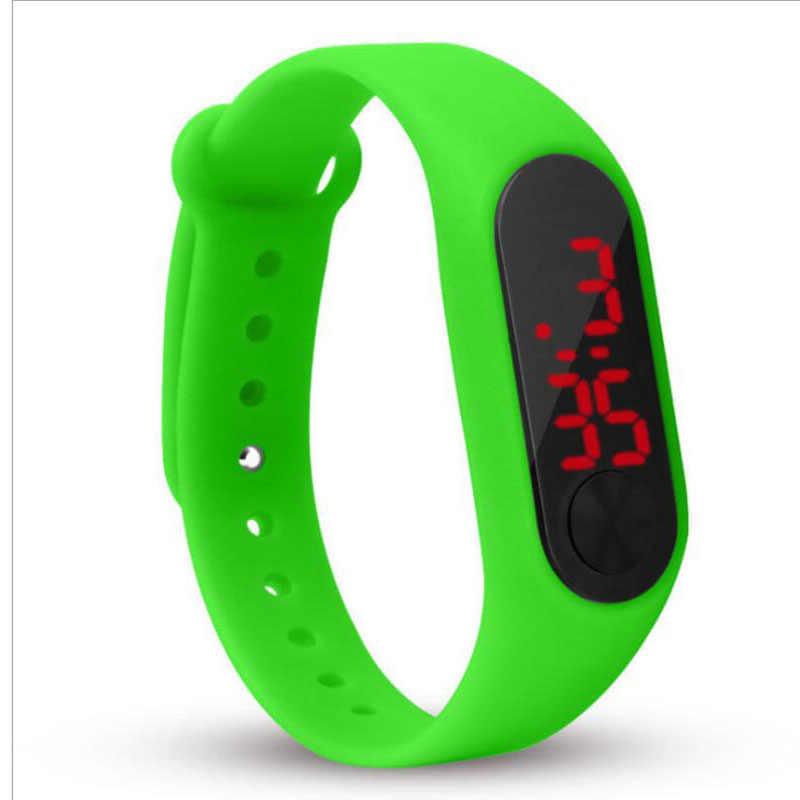 אופנה גברים נשים מקרית ספורט צמיד שעונים לבן LED אלקטרוני דיגיטלי צבעים בוהקים סיליקון שעון יד לילדים ילדים