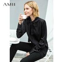 Amii минималистский для женщин рубашка 2019 офис Твердые с длинным рукавом на шнуровке Завязывающийся Лук Высокое качество Женская блузка