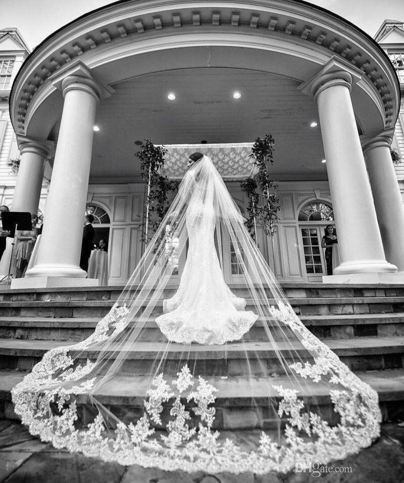 Voile de mariée blanc ivoire une couche dentelle Applique cathédrale longueur 500 cm mariage voile Velo accessoires mantille avec peigne enveloppes