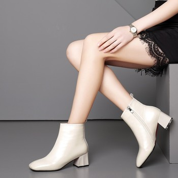2020 Fashion Women Ankle Boots Genuine Leather Square High Heels Ladies Shoes winter Warm Short plush Inside Woman Riding boots
