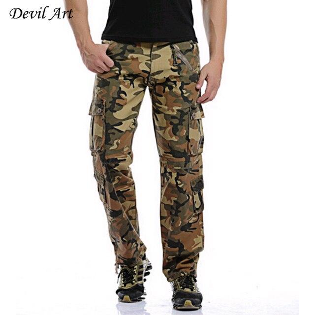 Военный Стиль Мужчины Камуфляжные Штаны Размер 28-40 Мульти-Карманы Средней Высоты Дизайн Моды Человек Случайный Грузов брюки