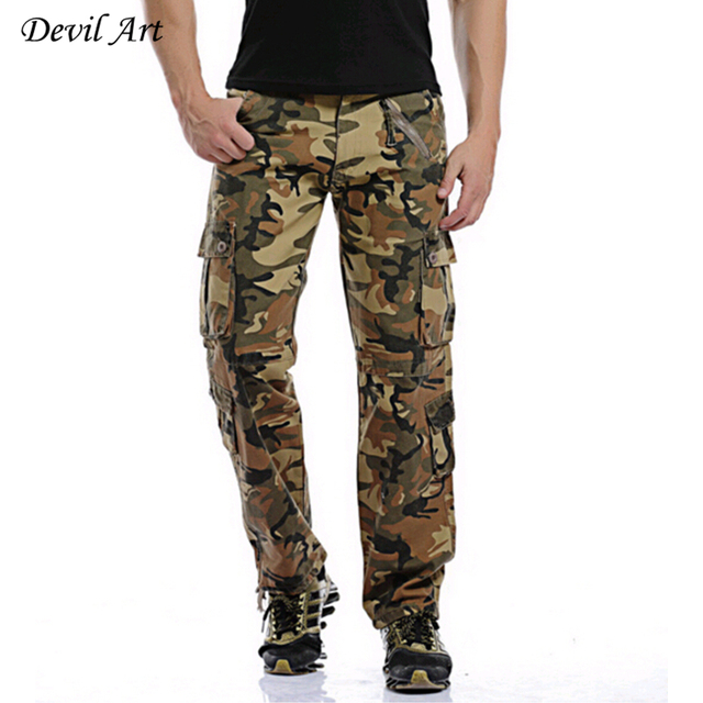 Military Style Men Camouflage Pants Size 28-40 Multi-Pockets Mid-Rise Design  Fashion Man Casual Cargo Trousers