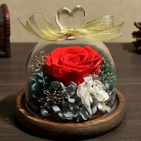Never Withered Real Rose Flower Preserved Immortal Fresh Rose In Glass Dome For Valentine Gift Mother Day Gifts