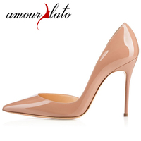 Amourplato Ladies Women Handmade Fashion 100mm Slip On High Heels Pointy Toe d'Orsay Party Pumps Cut Out Two pieces Dress Shoes