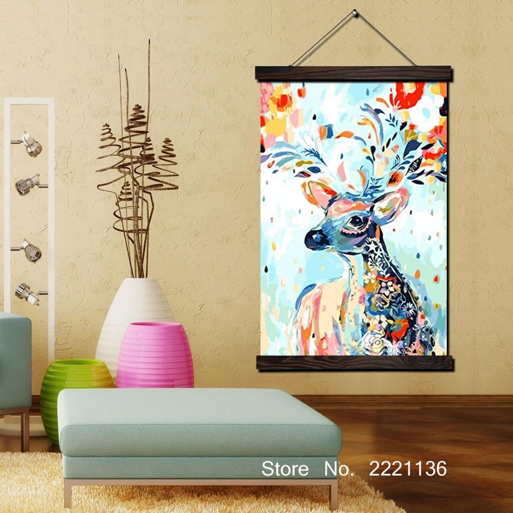 Cute Litter Deer HD Paint Scroll Painting HD Wall Art Hanging Canvas ...