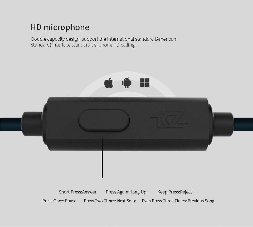 Original KZ ZS6 2DD+2BA Hybrid In Ear Earphone HIFI DJ Monito Running Sport Earphones Earplug Headset Earbud Two Colors