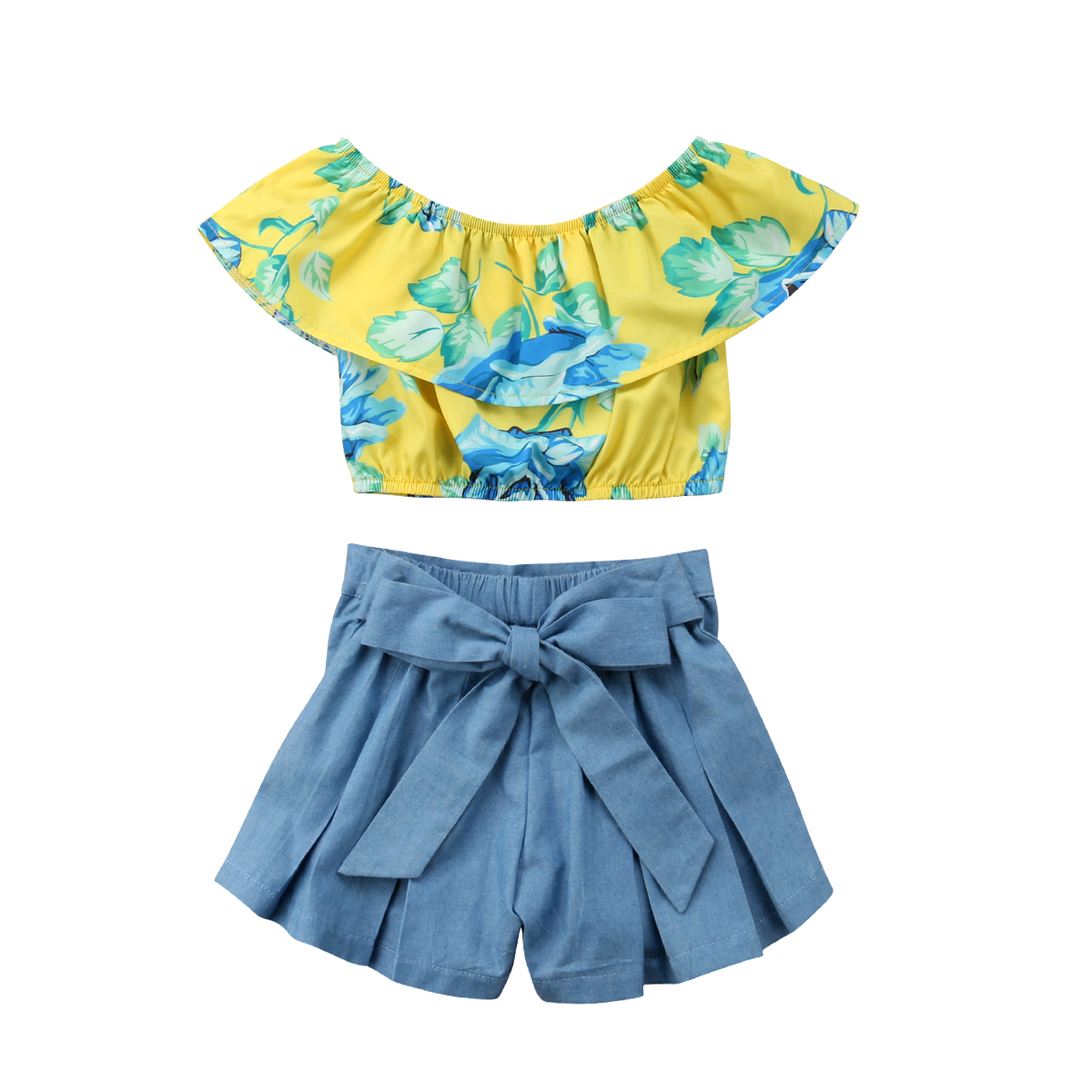 Summer Flower Baby Girl Kids Clothing Set Off Shoulder Tops+ Bow Denim Shorts Pants Outfits Child Clothes Set