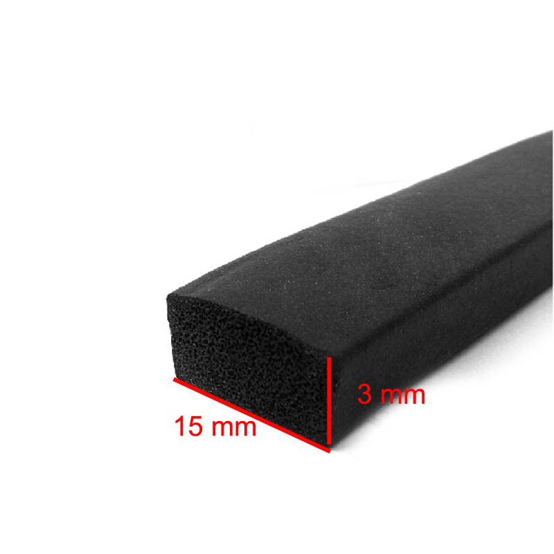 3m X 15mm X 3mm Self Adhesive Flat Rubber Foam Cabinet