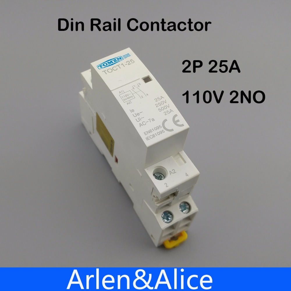 Toct1 2p 25a 110v Coil 50 60hz Din Rail Household Ac Modular 110 Wiring  Colors Din 110v Plug Wiring