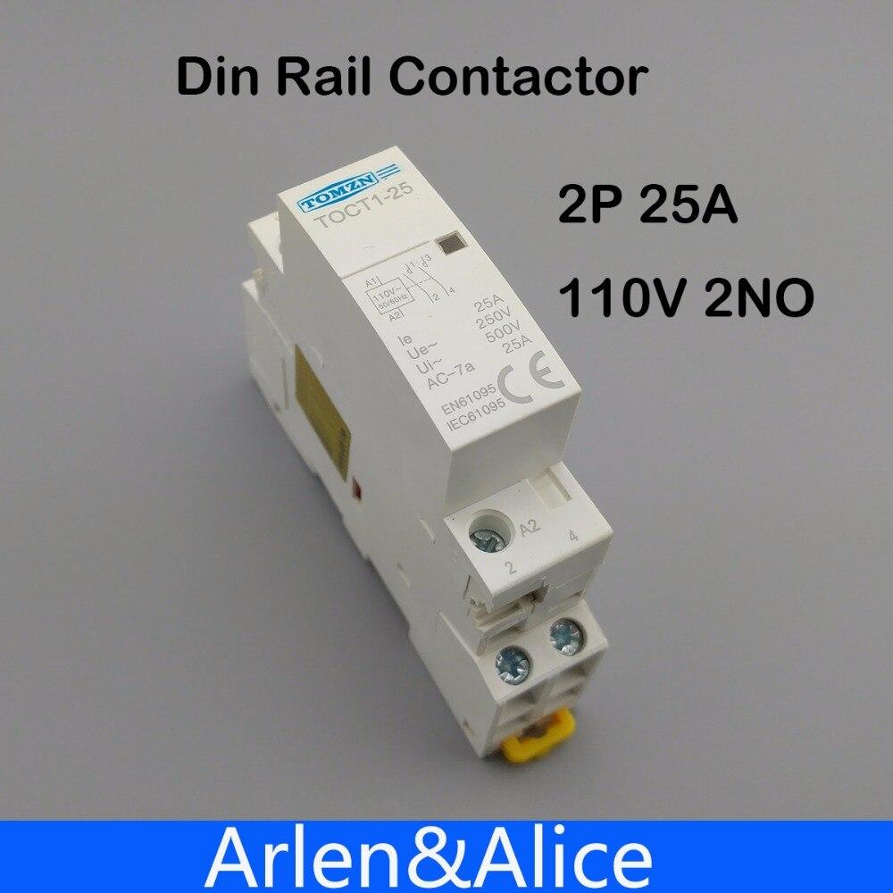 Toct1 2p 25a 110v Coil 50 60hz Din Rail Household Ac Modular 110 Wiring  Colors Din 110v Plug Wiring