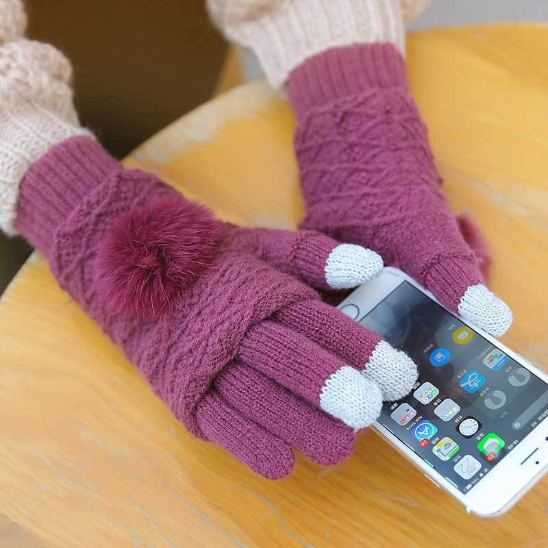 Touch Screen Gloves Women Winter Warm Double Layer Separable Fingerless Gloves Female Rabbit Fur Pom Poms Mittens Gants Femme