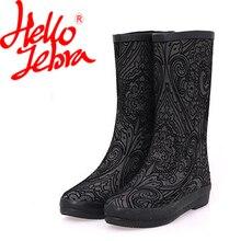 Hellozebra Для женщин дождь Сапоги и ботинки для девочек женские высокие ботинки на платформе Низкий каблук Водонепроницаемый Пряжка носимых 2017, Новая мода Дизайн