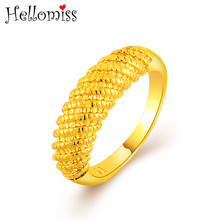 Gold Color Jewelry Rings for Women Spiral Pattern Round Ring Dubai Gold Jewelry Women Best Gifts Anillos Femme Classic Design spiral design ring