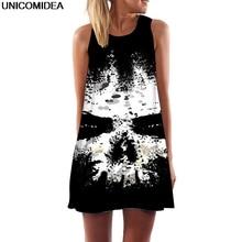 423e53ff9a4536 Schedel 3D Zwart Mini Vrouwen Jurk Inkt Rendering Tuniek Mouwloze EEN Lijn  Mini Party Dress Skelet Robe Femme Zomer Strand jurke.