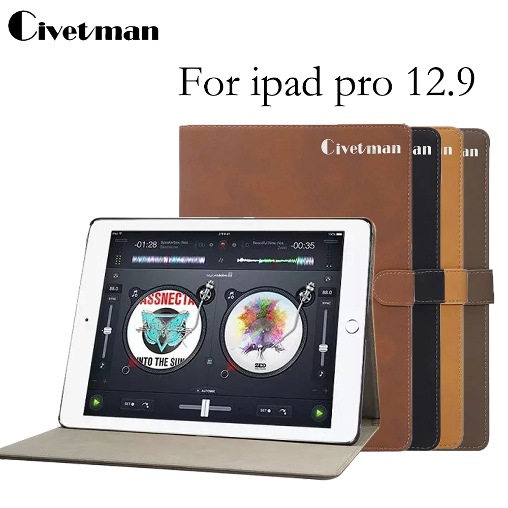 Civetman Retro Matte Protective Shell For iPad Pro 2016 New Luxury Stand Leather Back Cover Smart Case For iPad Pro 12.9 inch for ipad pro 9 7 retro crocodile stand wallet smart leather cover dark blue