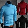 Nuevo 2016 de Invierno de Color Solapa de Cobertura Suéter de Corea Del Suéter de Cuello Alto Espesamiento Delgado
