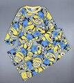 2016 otoño caliente del invierno de manga larga para niños pijamas para la ropa del muchacho muchachos amarillos pijamas muchacho de la historieta de manga larga pijamas ropa de dormir