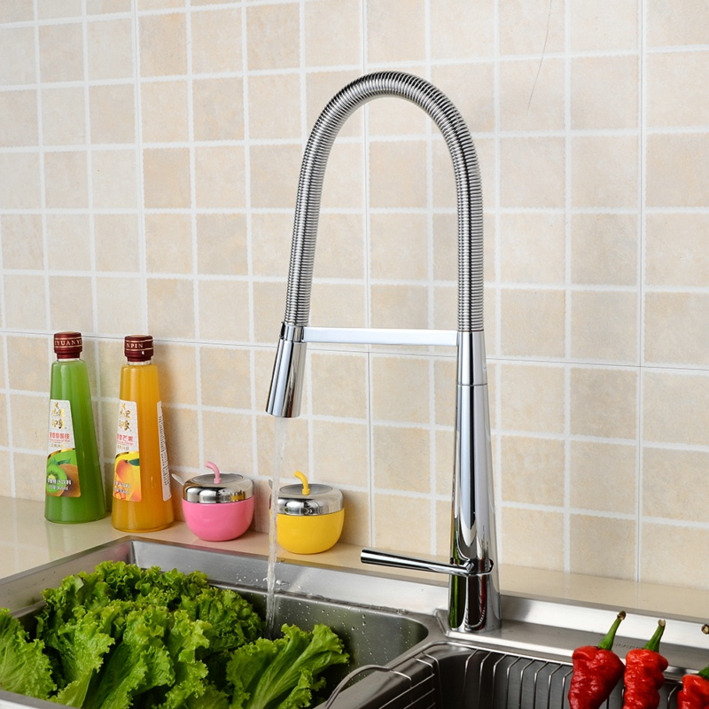 Free shipping luxury brass kitchen faucet hot and cold water sink faucet chrome pull down spring mixer tap A-170 kitchen chrome plated brass faucet single handle pull out pull down sink mixer hot and cold tap modern design