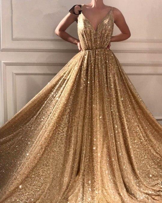 Gold Muslim   Evening     Dresses   2019 A-line Deep V-neck Sequins Sparkle Islamic Dubai Saudi Arabic Long Formal   Evening   Gown