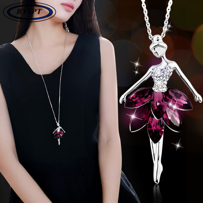 BYSPT-Fashion-Dance-Doll-Necklace-Girl-Pendant-Necklace-Crystal-Charming-Accessories-for-Women-Gifts