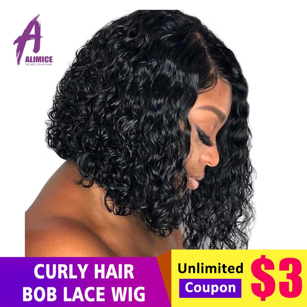 Curly Bob Wig Short Lace Front Human Hair Wigs 150 Preplucked Hairline Peruvian Remy Hair Lace