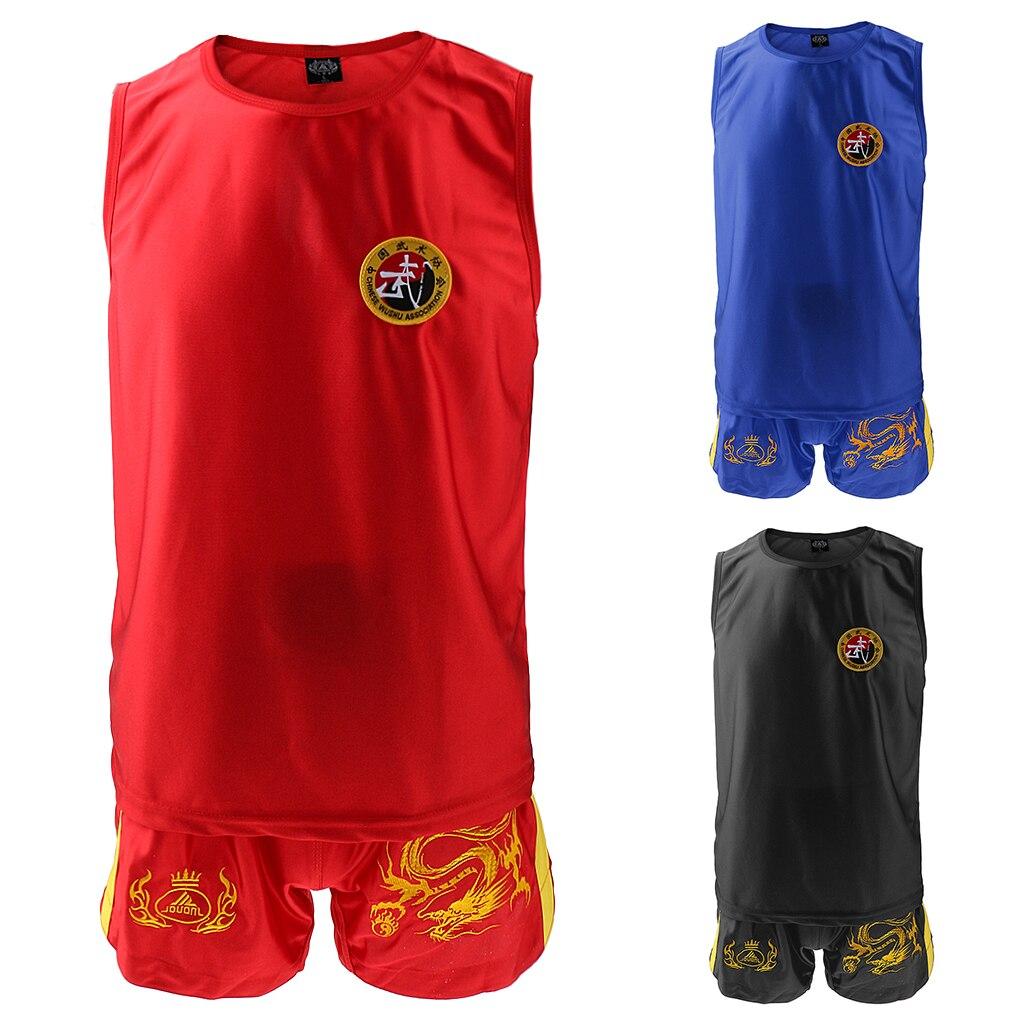 Boxing Martial Arts MMA Sanda Wushu Muay Thai Boxeo Taekwondo Clothes Dragon Embroidered Uniform Shorts Red XL Vest Set Kits