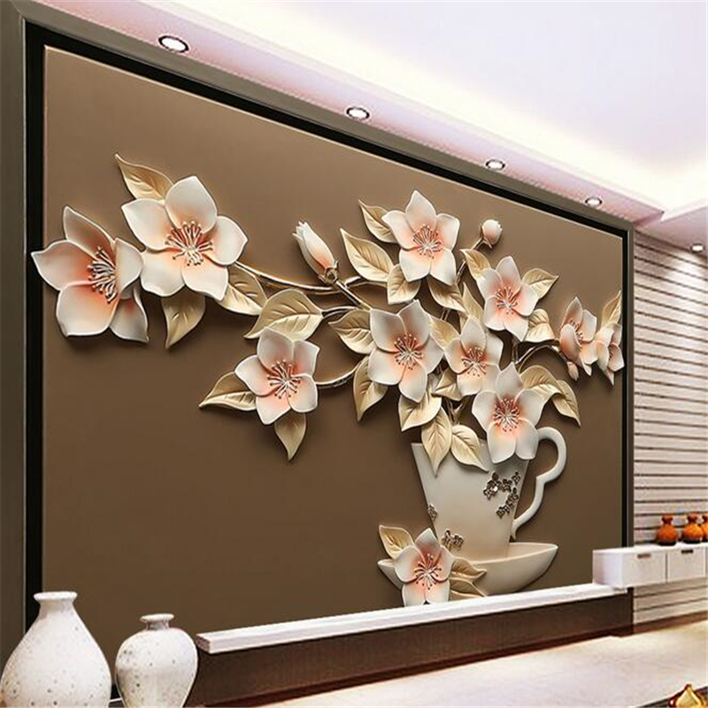 Beibehang Custom Wallpapers Wall Stickers Large - Scale Murals Three - Dimensional Relief Sculpture Vases Flowers Background