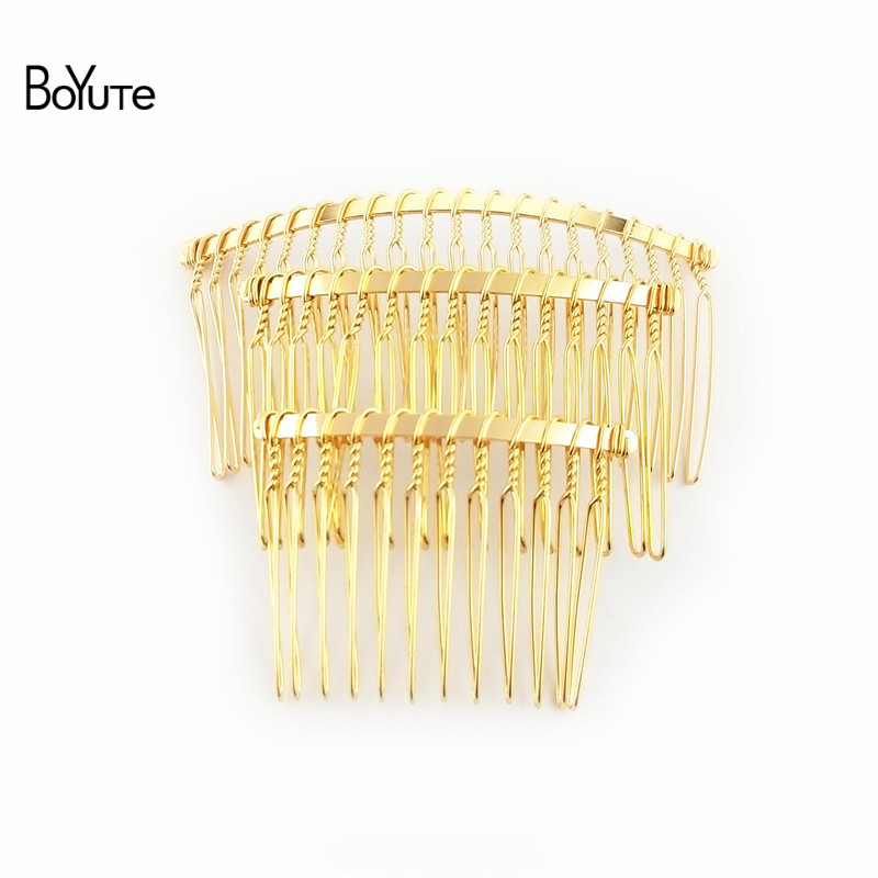 BoYuTe 10Pcs Vintage Hand Made Diy Wire Comb Metal Hair Comb Base 6 Colors Plated Women's Diy Hair Jewelry Accessories (2)