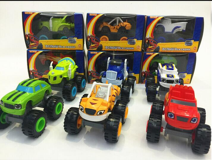 6pcs Children's Toy Car and Monster cars Machines Super Stunts Blaze Kids Truck Car Coll Gift For Child At Birthday Christmas