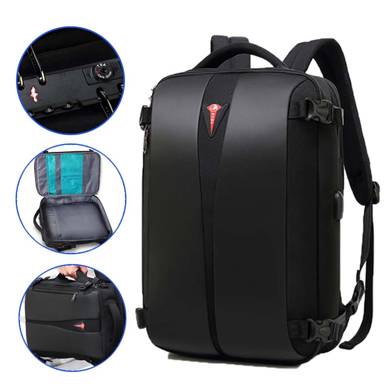 Men's Backpack Large Capacity USB Charging Mochila Male Anti-theft NO <font><b>Key</b></font> <font><b>TSA</b></font> Lock Design Business Laptop Backpack Travel Bag image