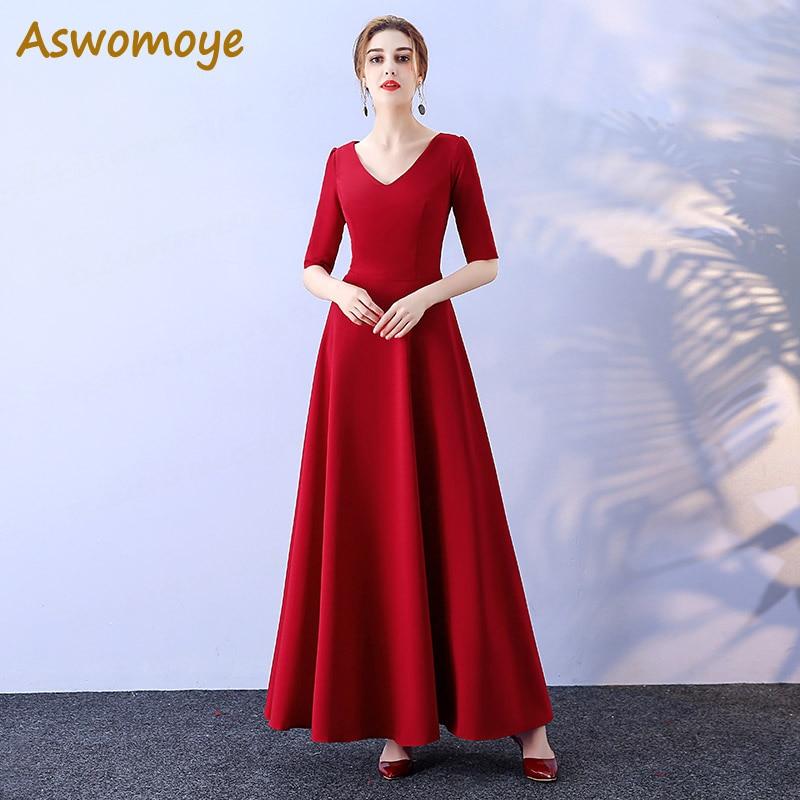 Aswomoye Bridesmaid Dress 2018 New Fashion Wedding Party Dresses Half Sleeve A-Line Banquet Dress Solid Color Robe De Soiree