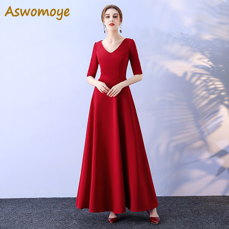 Aswomoye   Bridesmaid     Dress   2018 New Fashion Wedding Party   Dresses   Half Sleeve A-Line Banquet   Dress   Solid Color robe de soiree