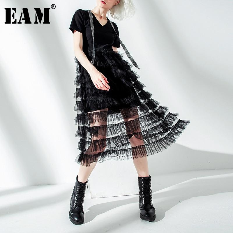 EAM 2019 New Spring Summer Round Neck Short Sleeve Black Hem Layers Mesh Split Joint